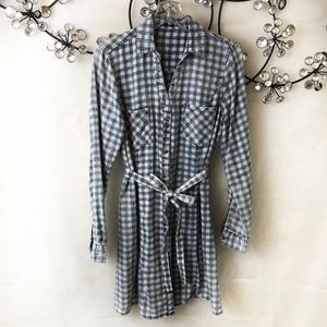 Cloth & Stone Gingham Button Down Shirt Dress